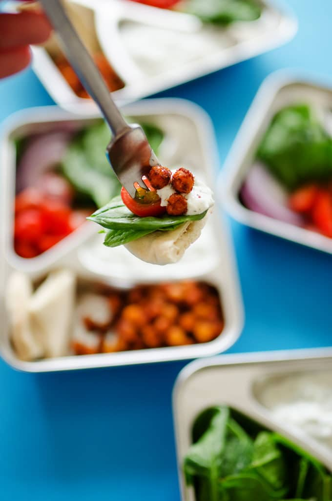 Ditch boring sandwiches and make yourself something seriously delicious for lunch with these Chickpea Gyro Vegetarian Meal Prep lunches! In under 30 minutes, you'll ultra-tasty and way-healthy lunch ready for the week.