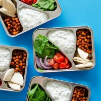 Ditch boring sandwiches and make yourself something seriously delicious for lunch with these Chickpea Gyro Vegetarian Meal Prep Lunch! In under 30 minutes, you'll ultra-tasty and way-healthy lunch ready for the week.