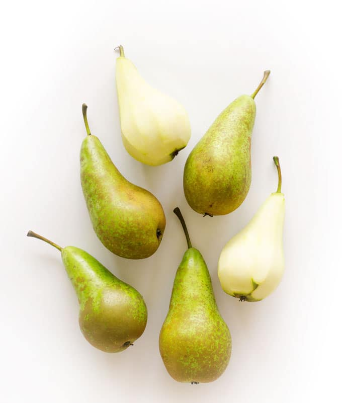 "These Dutch Poached Pears (or ""stoofpeertjes"" as they call them here in the Netherlands) are a delicious wintertime classic. Just stew peeled pears in wine and spices for a half hour and serve!"