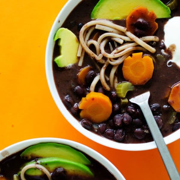With creamy black beans, flavorful veggies, and thick noodles, this Black Bean Boo-dle Halloween Soup is as spooky as it is delicious!