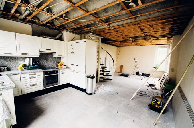 Home Renovation Part 1: Tear Down - Kitchen with no ceiling