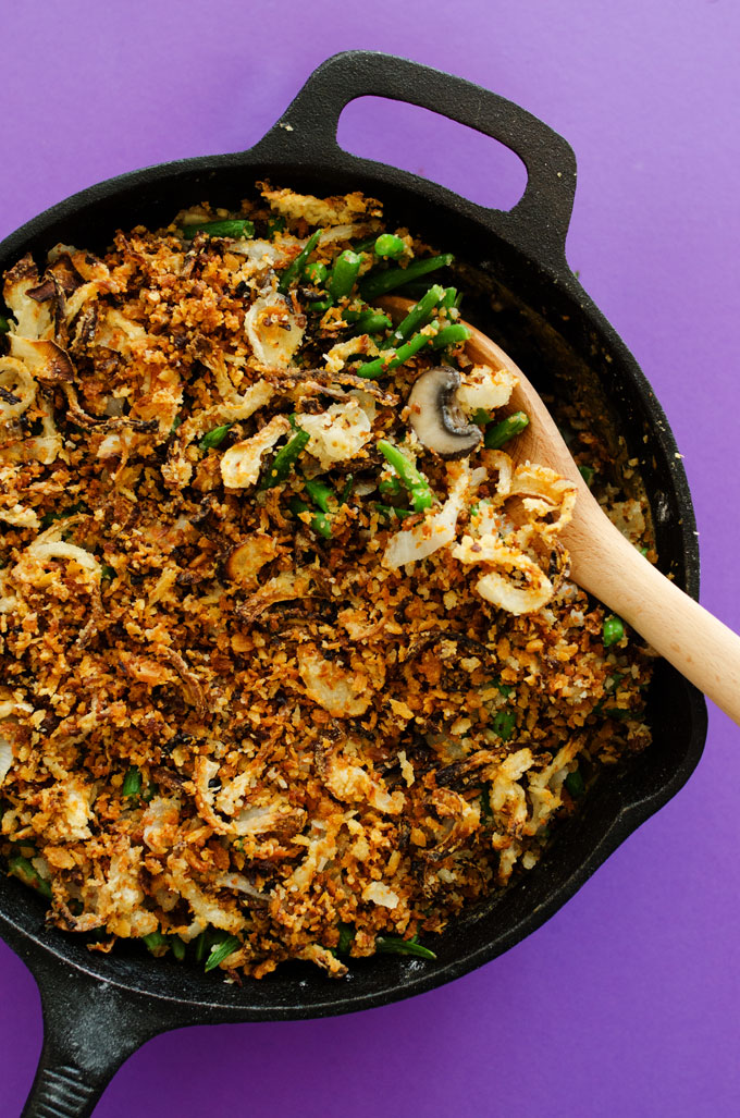 A healthy twist on a classic Thanksgiving staple...Vegan Green Bean Casserole with crispy panfried onions!