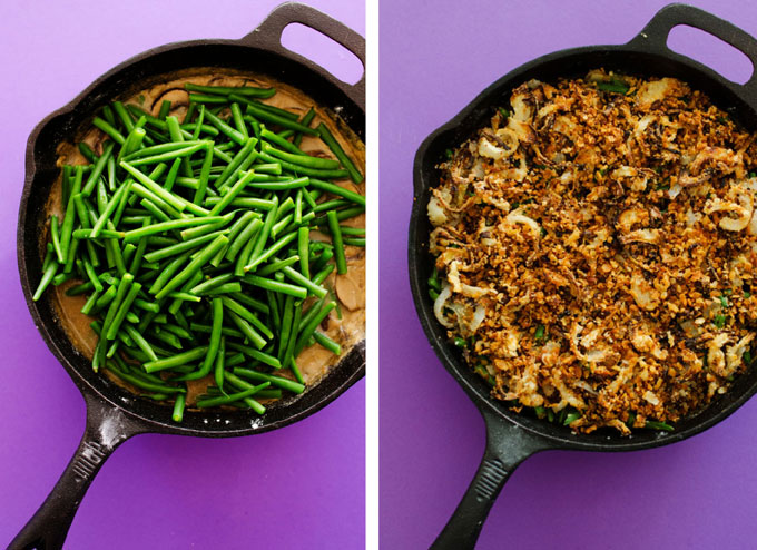 Vegan Green Bean Casserole in a cast iron skillet - A healthy twist on a classic Thanksgiving staple...Vegan Green Bean Casserole with crispy panfried onions!