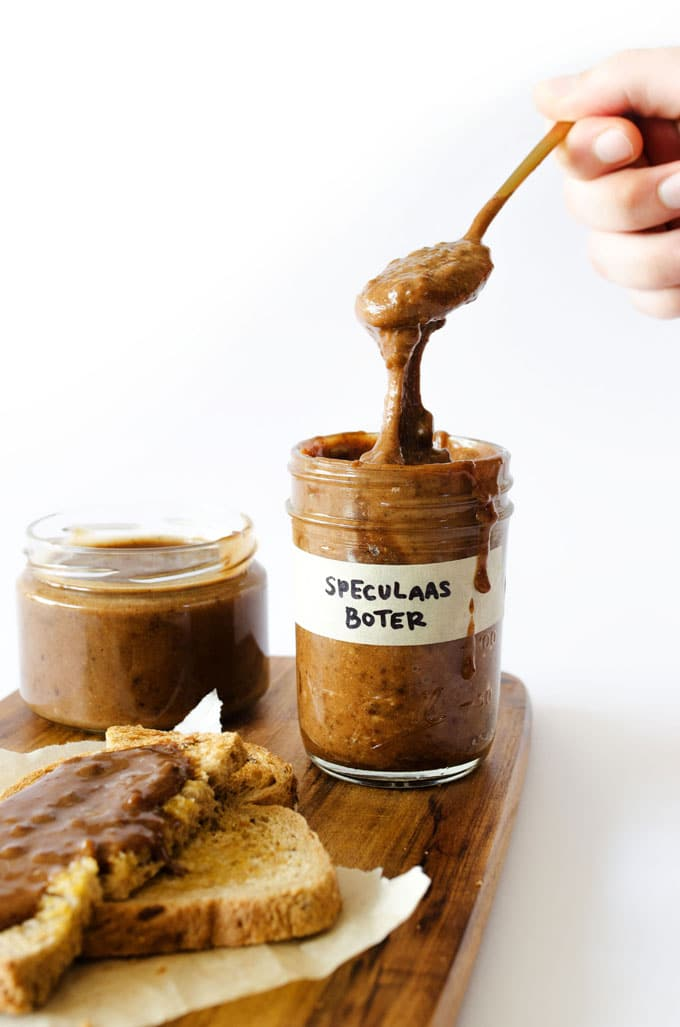 Creamy, dreamy, eat-with-a-spoon Homemade Speculoos Cookie Butter with homemade spiced Dutch cookies whipped into a delicious spread.
