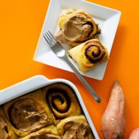 Fluffy, decadent, in slathered in a simple brown sugar cream cheese frosting, these Sweet Potato Cinnamon Rolls are the perfect way to wake up.