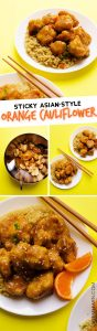 Pinterest - Think cauliflower is boring? Dress it up in a quick panko coating and sticky Asian-style sauce and I promise your mind will be changed! I give to you, Sticky Orange Cauliflower!