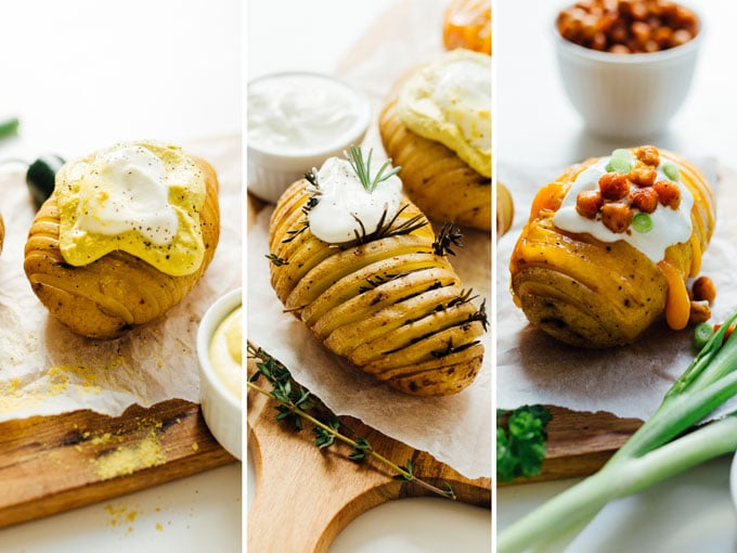 Collage with 3 kinds of baked hasselback potatoes - Change up the routine and make these easy hasselback potatoes for dinner tonight! We're whipping up three tasty flavors: vegan nacho, herb, and loaded.