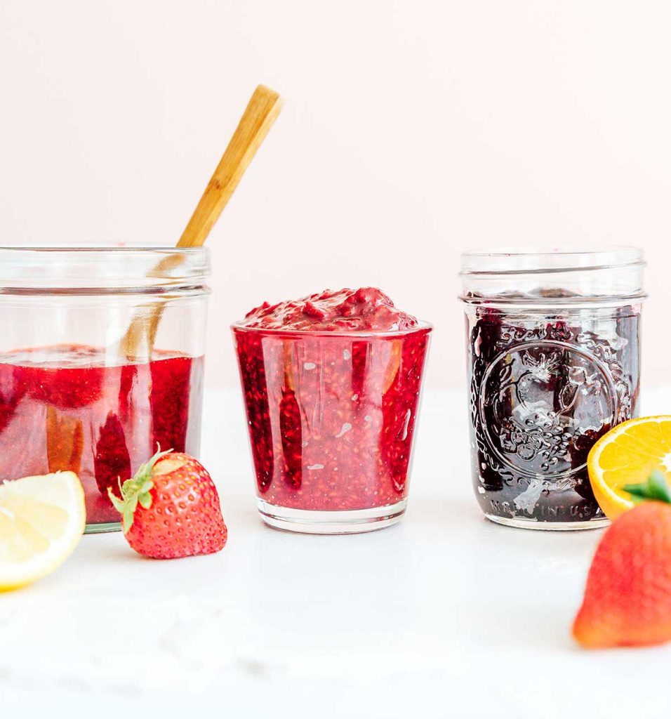 Different flavors of jam made without pectin in mason jars