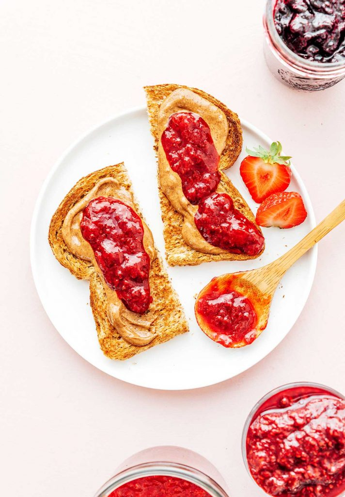Jam and peanut butter on toast