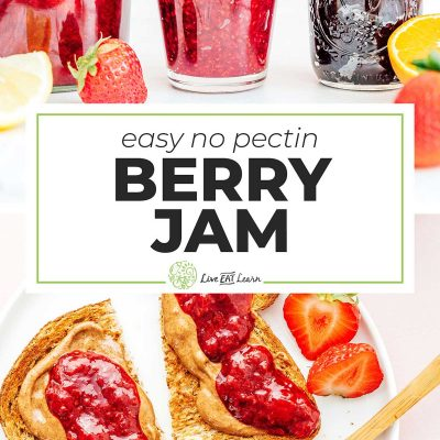 Different flavors of jam made without pectin