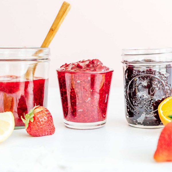 Strawberry jam in a glass