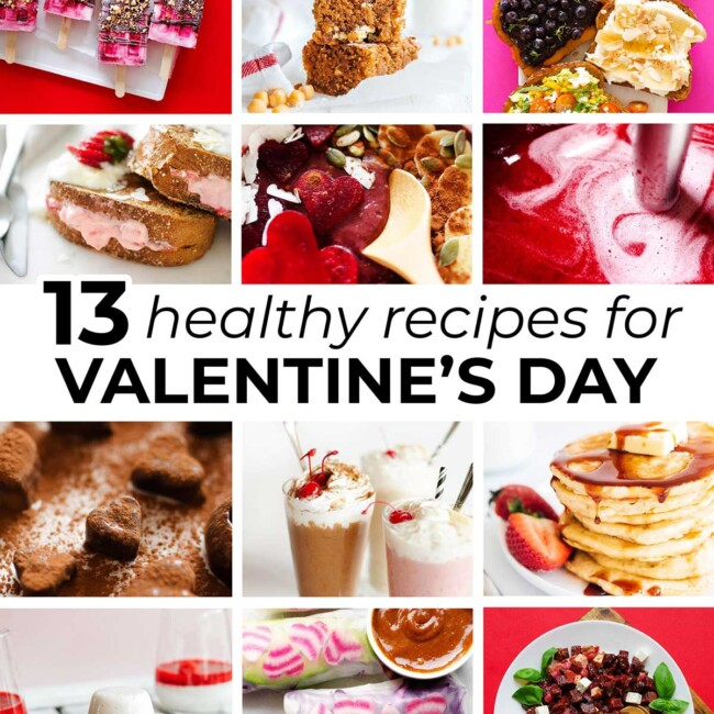 Collage of healthy Valentine's day recipes
