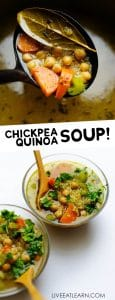 Soup in a clear glass bowl with a wooden spoon on a white background - This Quinoa Vegetable Soup is a bone-warming brothy soup that has the flavors of chicken noodle soup with the healthy-ness of vegetable soup (and it whips up in under 30 minutes!)