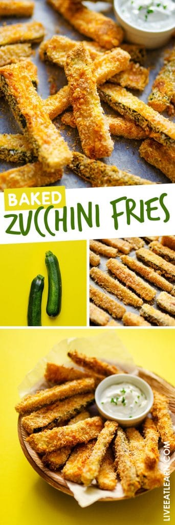 These Baked Zucchini Fries are a deliciously healthy alternative to your usual fries! They have a crispy panko and parmesan breading and become even more addictive with a yogurt and gorgonzola dipping sauce.