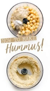 Chickpeas and tahini in a food processor for homemade hummus