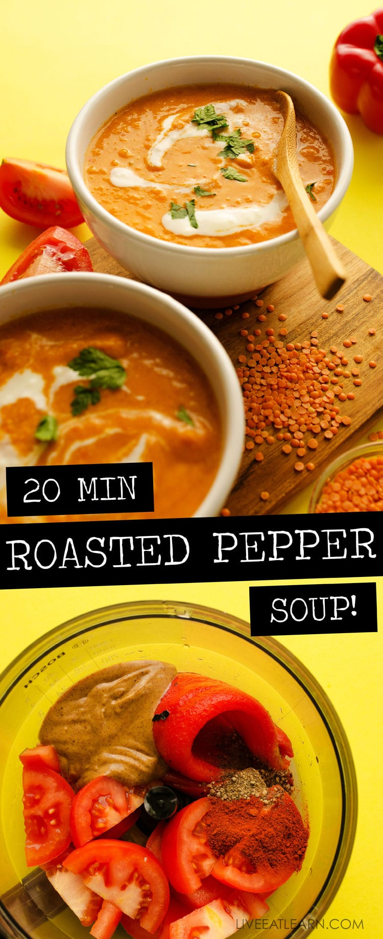 This Roasted Red Pepper Soup recipe draws inspiration from the delicious Spanish pepper sauce, romesco! With smoky roasted peppers, juicy Roma tomatoes, and a dollop of almond butter, this is a creamy soup that gets a delicious dinner on the table (in under 15 minutes!) #easydinner #vegan #vegetarian #glutenfree #soup