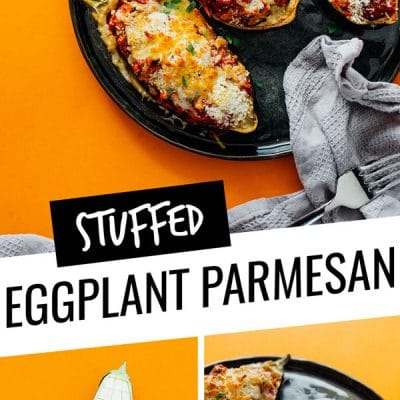 This Stuffed Eggplant Parmesan recipe takes all that's great about eggplant parm and stuffs it in the eggplant skin, meaning less mess and easy serving!
