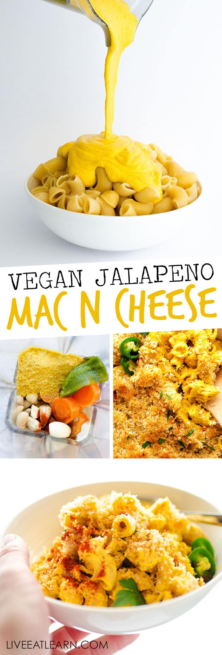 Cheesy, crispy, and ultra-creamy…you need this Smoky Jalapeno Vegan Mac 'n' Cheese recipe in your life. Topped with crispy panko breadrcumbs and held together with a rich, cheesy cashew sauce, your family will be shocked with they find out it's dairy-free and vegan! #vegan #vegetarian #dairyfree #dinner #sidedish #healthyrecipes
