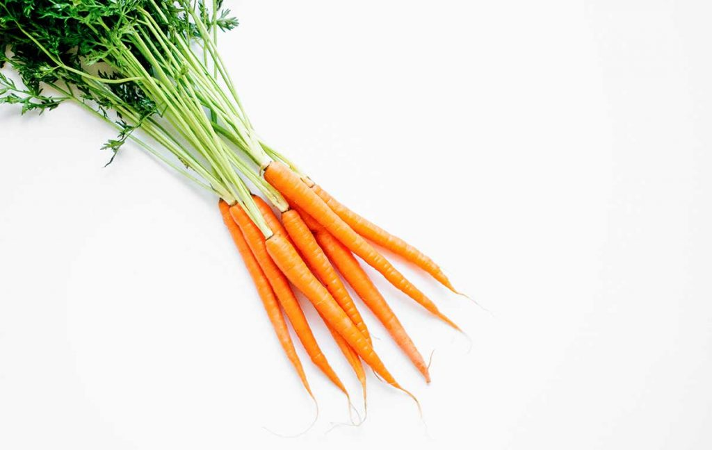 Bundle of carrots on a white background