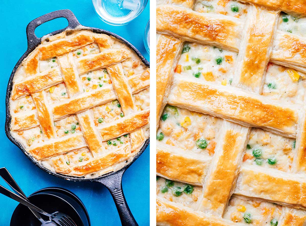 Chickpea pot pie in a cast iron skillet on a blue background