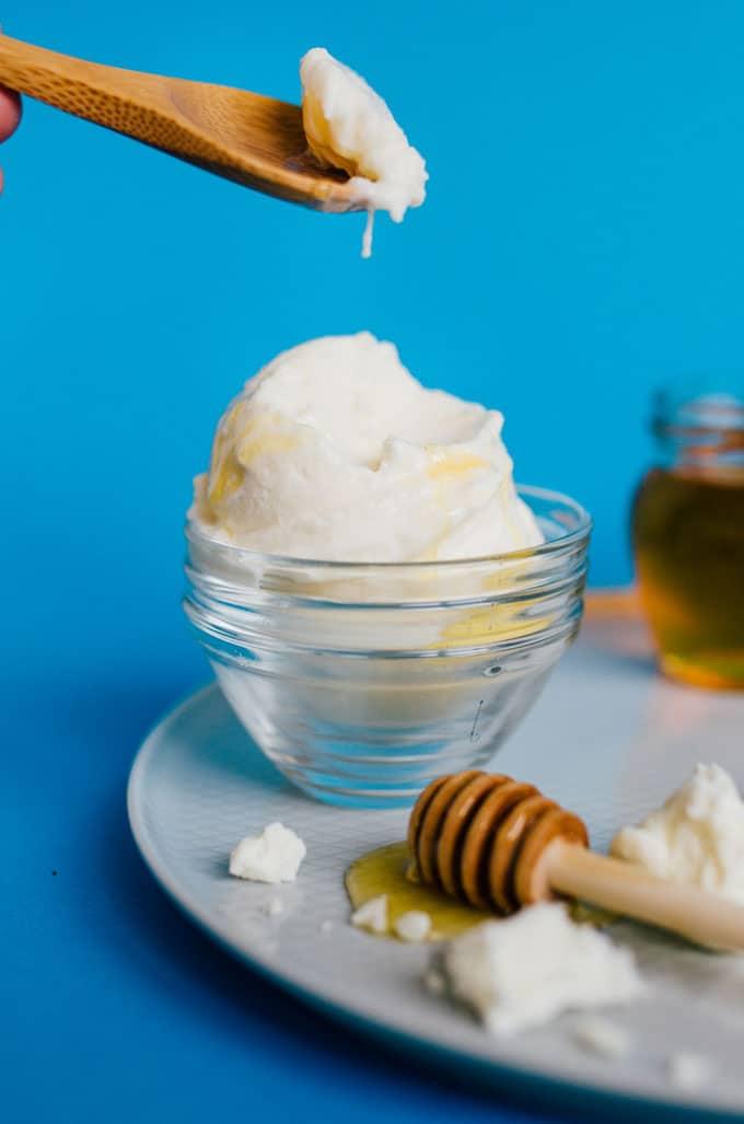 This Feta Frozen Yogurt has just three simple ingredients: feta cheese, plain Greek yogurt, and homegrown honey!