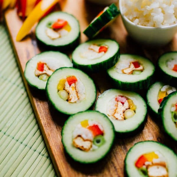 These refreshingly simple stuffed Cucumber Sushi Rolls are stuffed with crispy baked tofu and all your favorite vegetarian sushi fillings. Served with our all-time favorite almond butter dipping sauce!