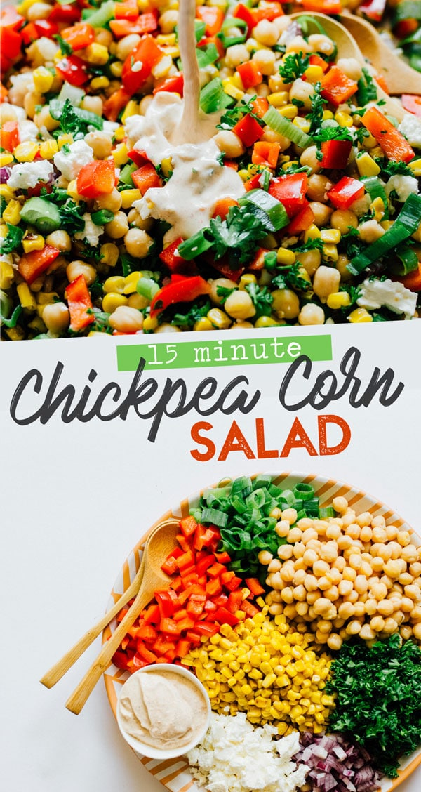 Whipping up a 10-minute Chickpea Corn Salad recipe that's bursting with veggies and herbs, and tied together with a spiced homemade Greek yogurt salad dressing. It's an easy vegetarian side dish recipe idea that the family will love to eat on tacos, sandwiches, and by itself! #salad #chickpeas #summerfood #chickpeasalad #corn #vegetarian #glutenfree