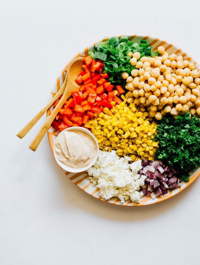 16. Chickpea Corn Salad with Yogurt Dressing