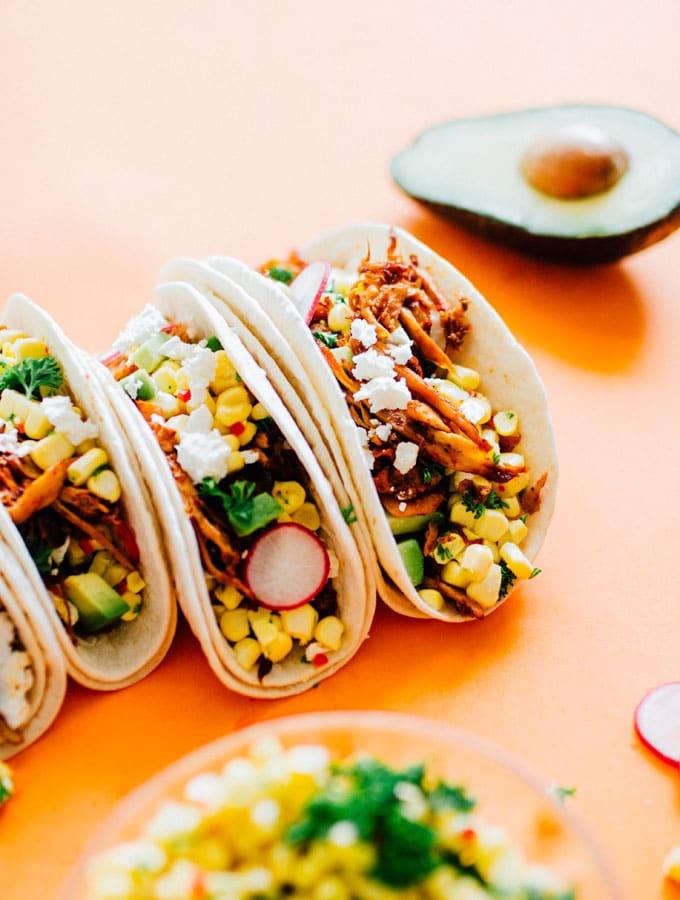 13. Corn and Pulled Mushroom Vegetarian Tacos