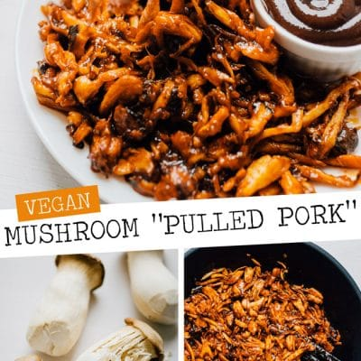 Vegan mushroom pulled pork on a white background and white plate - By shredding king oyster mushrooms, seasoning with spices, and baking, you can create a vegan mushroom pulled pork that rivals the real stuff! Perfect on sandwiches, tacos, nachos...or whenever you need pulled pork.