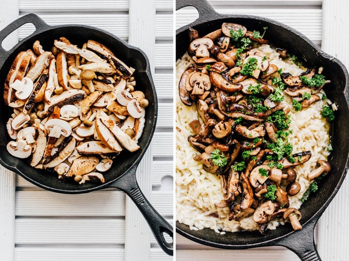 Adding mushrooms to risotto in a cast iron skillet