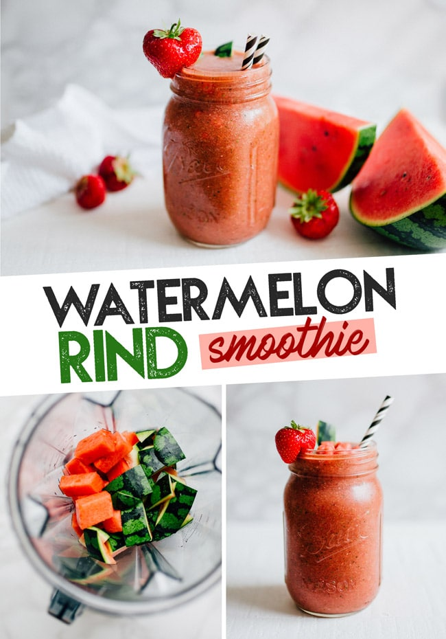 This recipe is as unique as it is delicious...Strawberry Watermelon Rind Smoothie recipe! A waste free smoothie that's hydrating, refreshing, and perfect for bringing along on your summer adventures! #smoothie #vegan #vegetarian #glutenfree #healthyrecipes #watermelon #foodwaste