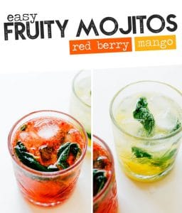 Fruit Mojitos are the *fancy-human* version of this classic cocktail (that take less than 5 minutes to whip together).