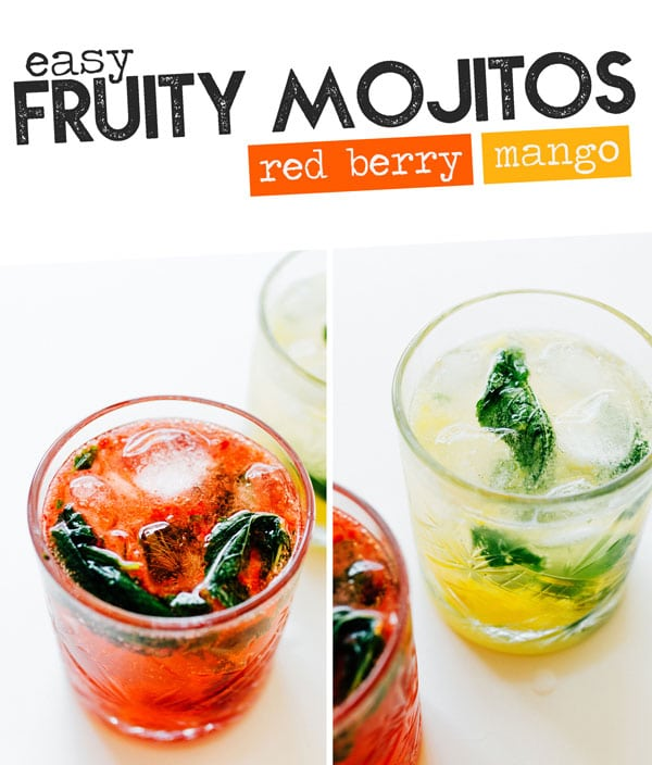 Fruit Mojitos are the *fancy-human* version of this classic cocktail (that take less than 5 minutes to whip together). This healthy cocktail recipe is easy to make and full ore refreshing flavor. #cocktails #mojitos #rum #homemade