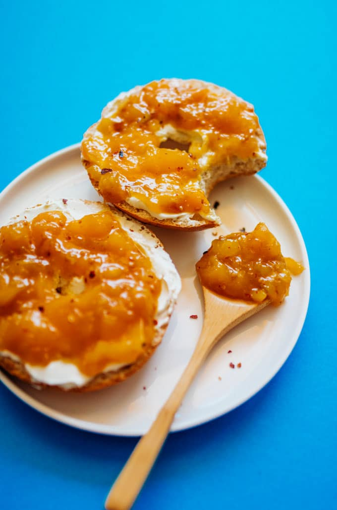 Mango chutney on a cream cheese bagel