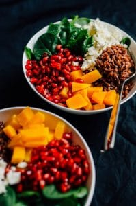 This simple fall salad packs in the tastiest ingredients of the season and is drizzled with a creamy pomegranate balsamic vinaigrette!
