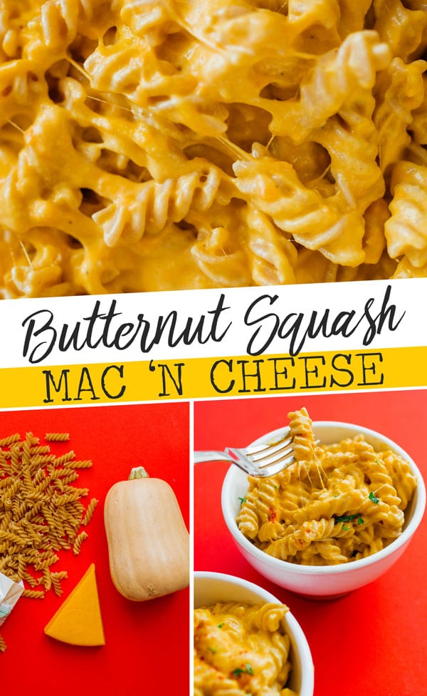 When the mac and cheese cravings hit, this lightened up Butternut Squash Mac and Cheese recipe will do the trick! Ready on the stove in under 30 minutes, it's an easy healthy dinner idea with hidden veggies (but loads of flavor). #macncheese #macaroni #butternutsquash #pastarecipes #vegetarianrecipes #dinnerrecipes #healthyrecipes