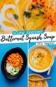 This Slow Cooker Vegan Butternut Squash Soup is a hands-off and delicious soup for cold fall or winter days (bonus: it makes your house smell amazing!)