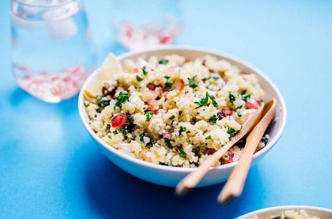 This vibrant bulgur salad is packed with whole grains, herbs, and is bursting with juicy pomegranate seeds! Toss it together for a quick and delicious side dish.