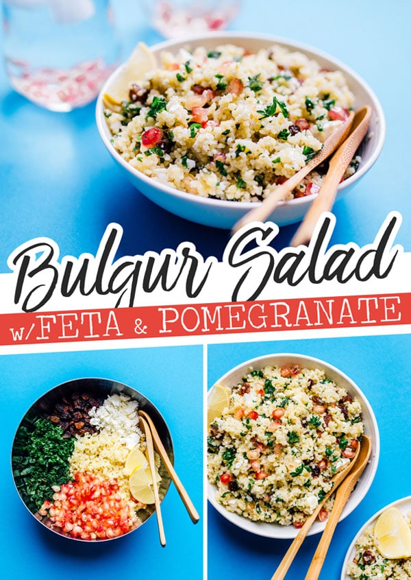 This vibrant bulgur salad recipe (tabbouleh recipe) is packed with whole grains, herbs, and juicy pomegranate seeds! Toss it together for a quick and easy side dish recipe that's full of flavor and easy to make. #bulgur #tabbouleh #sidedishes #easyrecipes #vegetarianrecipes #salads #saladrecipes #mediterraneanfood