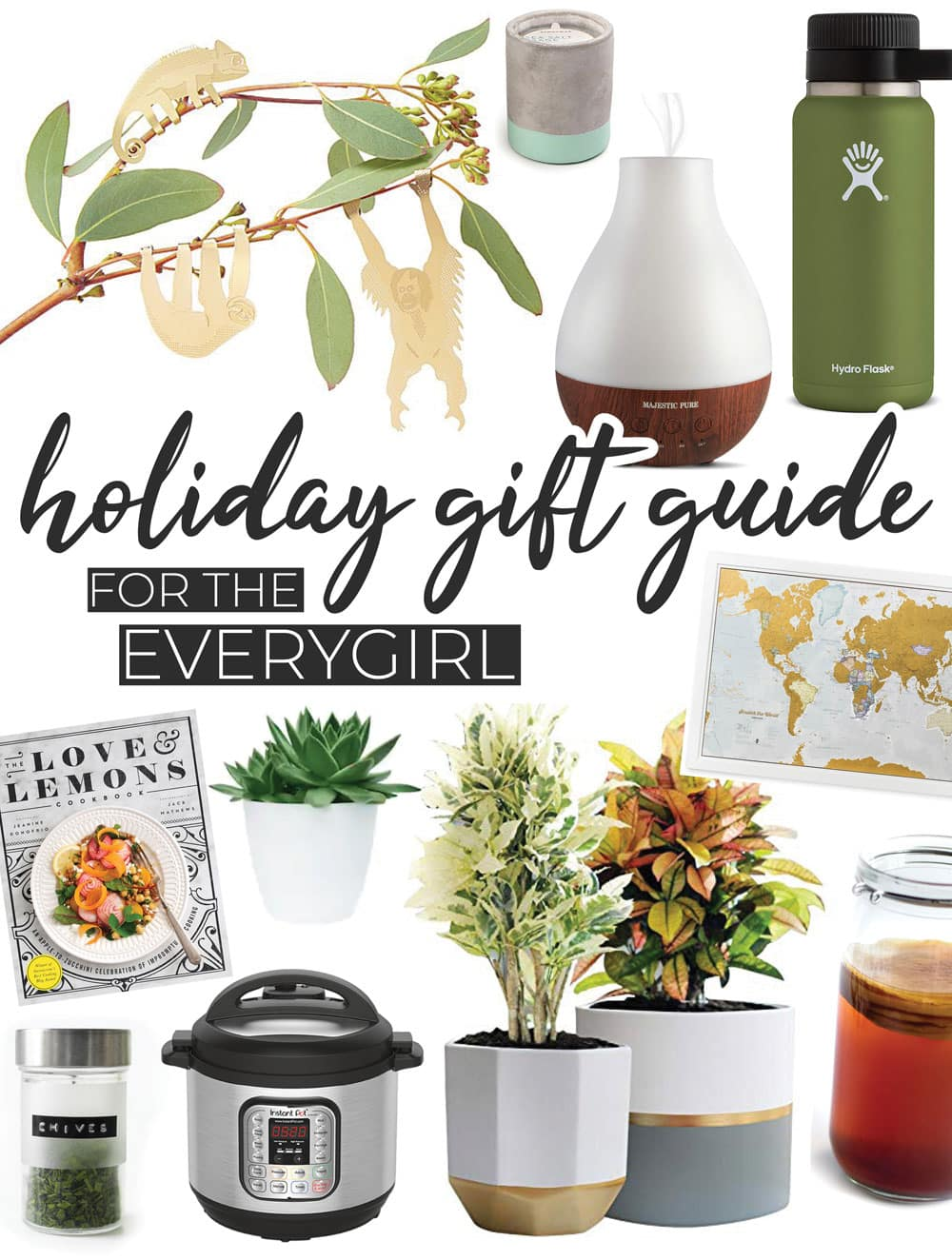 A 2018 holiday gift guide for her, from the cozy homebody to the cooking enthusiast to the cookbook hoarder to the world traveler. These Christmas gift ideas are unique, affordable, and great for online Christmas shopping for friends! #giftguide #giftideas #christmasgifts #holidaygifts #onlineshopping #christmasshopping #holidayshopping #presents #christmaspresents