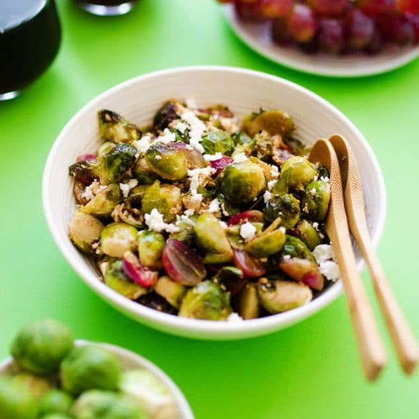 These roasted Brussels sprouts with balsamic and garlic are tossed together with grapes and feta cheese and become such a flavorful side dish!