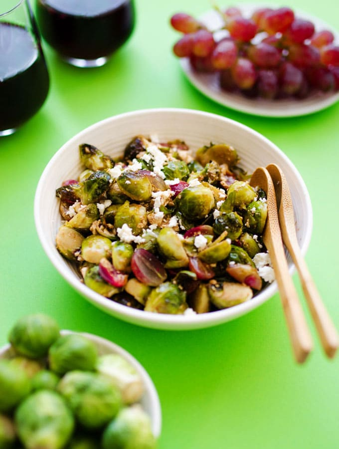Roasted Brussels Sprouts with Balsamic, Garlic, and Grapes