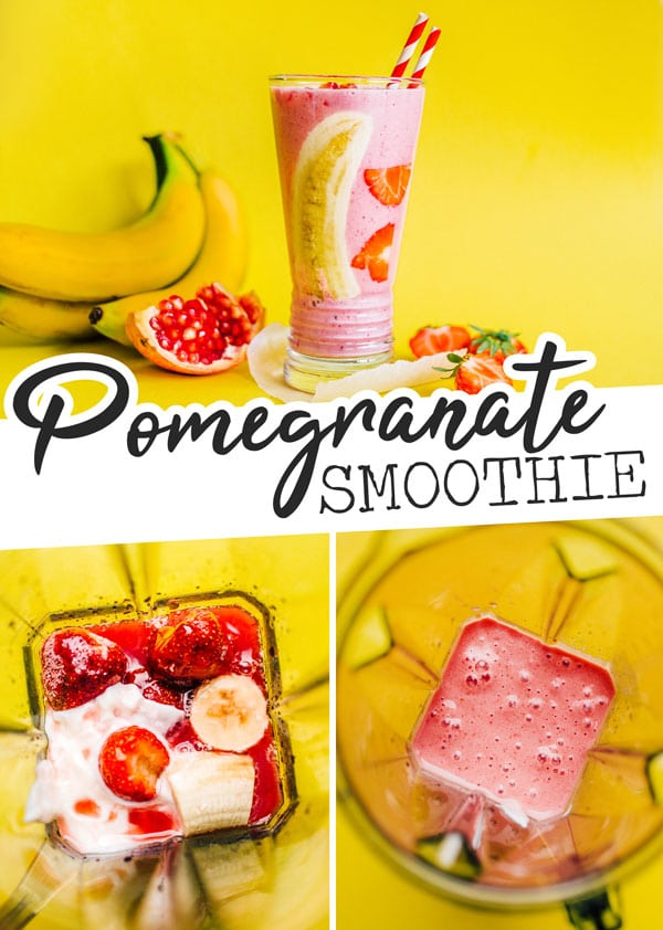 A easy and healthy Strawberry Pomegranate Smoothie recipe, made ultra-creamy with Greek yogurt and bananas and made frosty with frozen fruit. This healthy breakfast idea is full of flavor and a great on-the-go snack or meal for anyone in the family. #smoothierecipes #breakfastrecipes #smoothie #strawberryrecipes #pomegranaterecipes