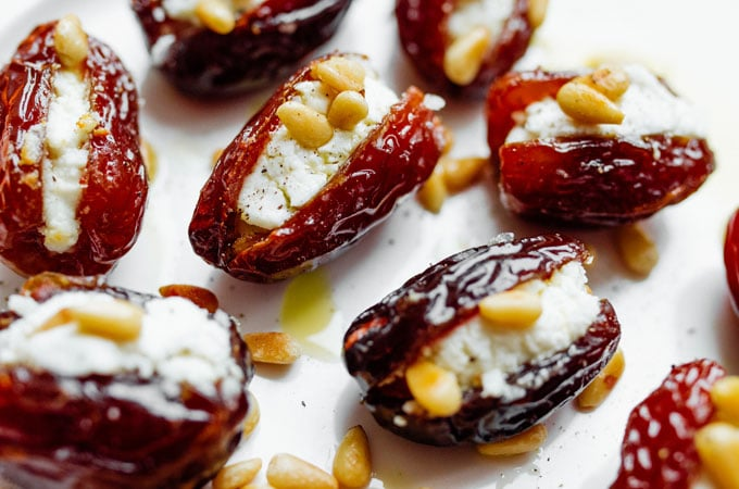 For a quick and delicious appetizer, these warm and cheesy Roasted Goat Cheese Stuffed Dates are about to become your new go-to.