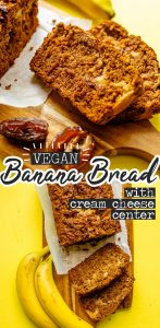 This Vegan Banana Bread is loaded with dates, almond butter, and a plant-based cream cheese filling that makes it ultra-moist!
