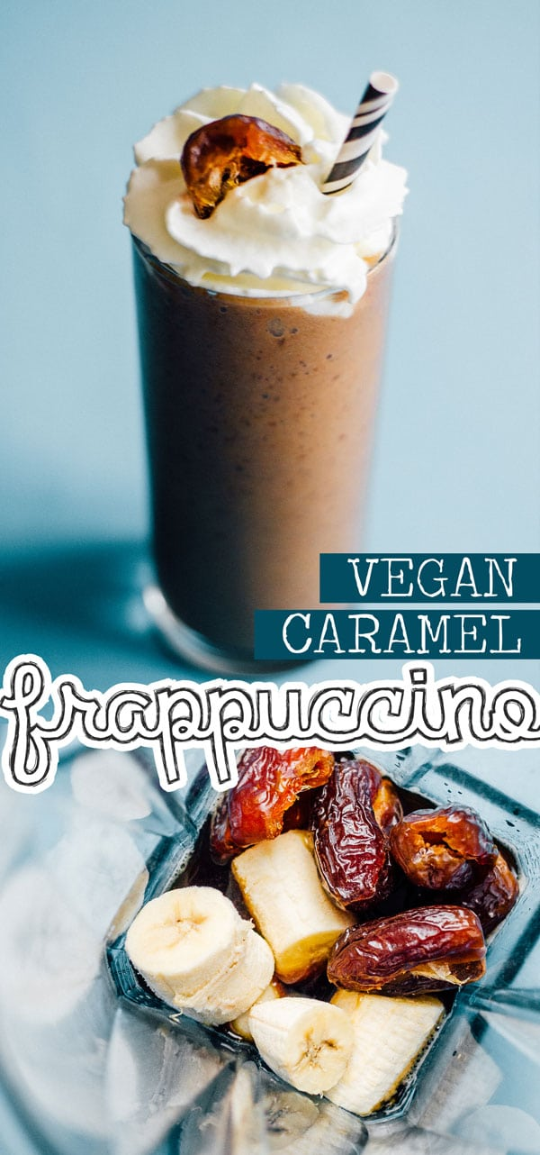 This Vegan Caramel Frappuccino recipe has just 4 ingredients and everything you need in the morning to get moving. The perfect healthy breakfast idea for busy mornings that you can take on the go. #veganrecipes #smoothies #smoothierecipes #breakfast #breakfastrecipes #coffee #glutenfreerecipes #rawrecipes #caramel