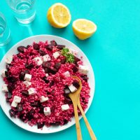 With gorgeous magenta beet and cubes of feta, this Israeli Couscous Salad is the side dish so beautiful, it may as well just be the main course!
