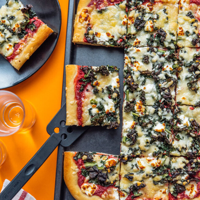 Step up your pizza game with this Beet Pesto Pizza with Goat Cheese and Kale, a decadent, healthy pizza that's packed with flavor and antioxidants.