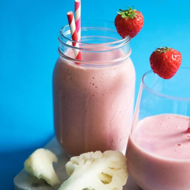 This Hidden Cauliflower Strawberry Banana Smoothie has a serving of low-calorie veggies (without compromising on that classic strawberry banana flavor)!